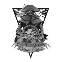 OCEAN CHAOS - B/W - Mens Shadow Tee Design